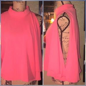 Love In Coral Mock Neck, Cut Shoulders Flow Top